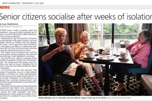 Senior citizens socialise after weeks in isolation Image